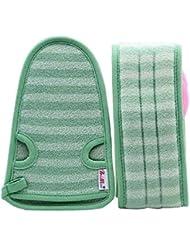 女性のための柔らかいミトンの剥離手袋のバスベルトの2、緑
