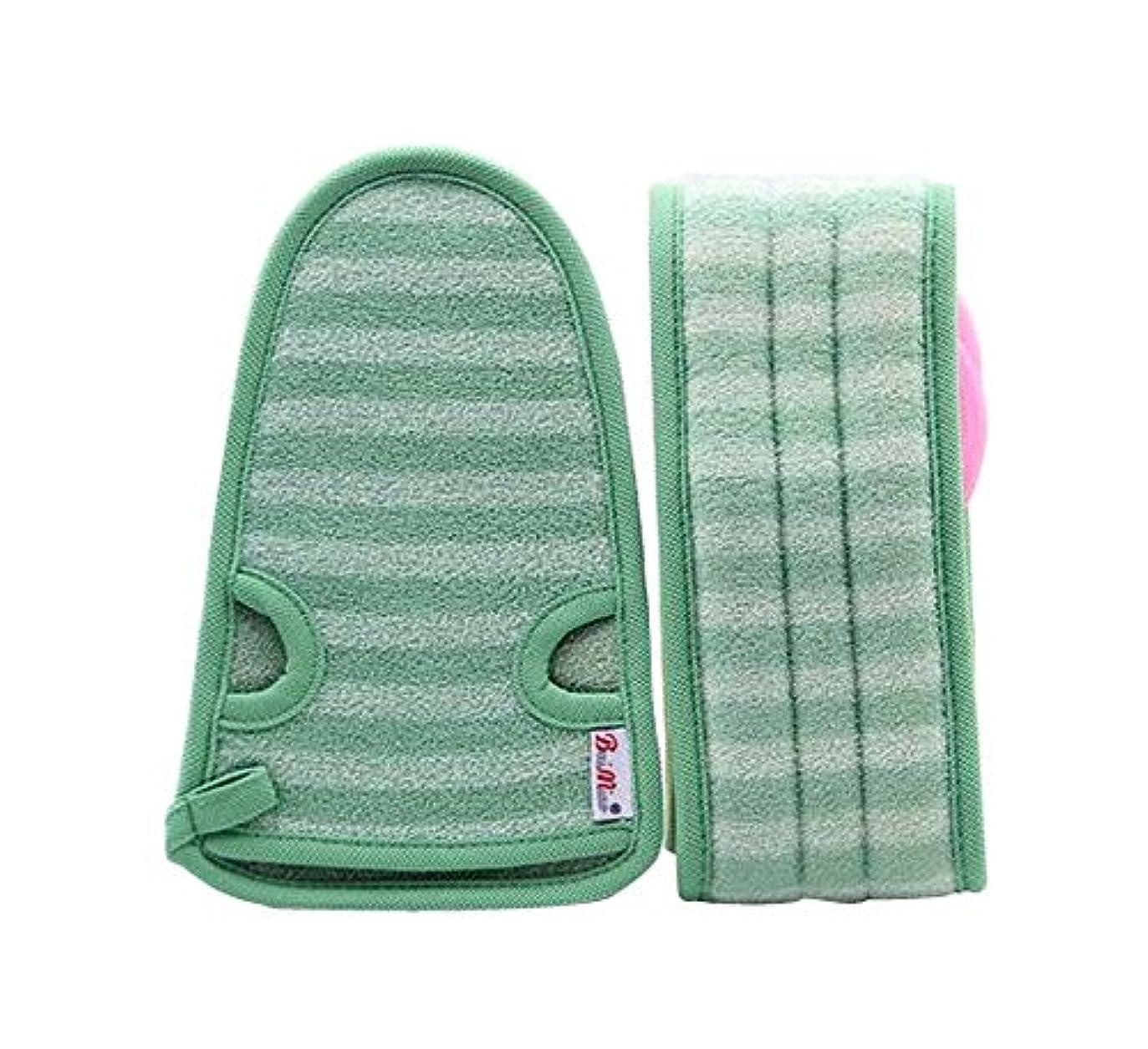 処分した血まみれの勝者女性のための柔らかいミトンの剥離手袋のバスベルトの2、緑