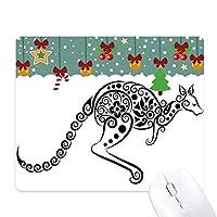 オーストラリアのカンガルーのスケルトン風味のイラスト ゲーム用スライドゴムのマウスパッドクリスマス