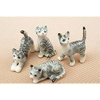 3 D Ceramic Toy Mini Cat set 4 pcs. Dollhouse Miniatures Free Ship by ChangThai Design [並行輸入品]