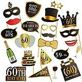 KissDate 60歳の誕生日写真ブース小道具 楽しいDIYキット 男女兼用 60歳の誕生日パーティー用品 装飾品 記念品 (ブラックとゴールド)