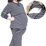 baby-mine (ベイビーマイン) マタニティ パジャマ ナイトウエア 授乳服 家着 普段着 授乳口 ウエスト調節 大き目 ママパジャマ ボーダー ストライプ (M, ブルー×ボーダー)