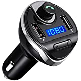 Bluetooth FM Transmitter Wireless in-Car FM Transmitter Radio Adapter Car Kit Universal Car Charger with Dual USB Charging Ports (Black-2)