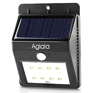Aukey 8LED ソーラーライト 人感センサー 屋外照明/軒先/壁掛け/庭先/玄関周りなどのライト 夜間自動点灯 LT-O1 (ブラック)