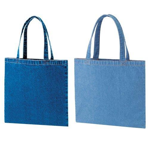 デニムフラット ワイドトートバッグ A4サイズ レディース メンズ 鞄 肩掛け マチなし エコバッグ レッスンバッグ (ウォッシュブルー)