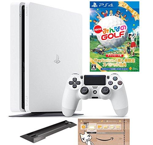 PlayStation 4 グレイシャー・ホワイト 500GB (CUH-2100AB02) 【数量限定特典 New みんなのGOLF ダウンロード版付】【Amazon.co.jp限定】アンサー PS4用縦置きスタンド & オリジナルカスタムテーマ配信 付