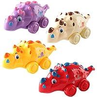 Anika 's Crafts Dinosaur Toys for Girls and Boys – Push and Go Vehicles – 幼児および古いKids – Set of 4