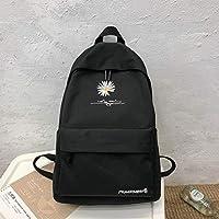 JPMD Teen School Bag for Girls Backpack Women Printing Bookbags Middle Student Schoolbag Large Black Cute Flowers Nylon Bagpack (Color : Black)