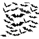 204 PCS 3D Bat Halloween Wall Stickers Window Decorations with 4 Different Size Realistic Looking Scary Spooky Hanging Bats f