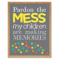 Pardon Mess Children Memories Art Print Framed Wall Decor 9X7 Inch 子供壁デコ