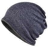 WOOSOO ニット帽 ネックウォーマー多機能 防寒 アウトドア ロールアップ ビーニー 両面使用 無地 男女兼用 タイプ2-ブルー&濃いグレー