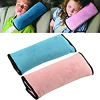 BigFox 自動車安全シートベルトカバー チャイルドシートベルトクッション ショルダーパッド 旅行子供用ネックピロー 枕グレードPP綿 子供に快適に寝る 超ふわふわ 簡単取付  2個セット 長旅に最適グッズ