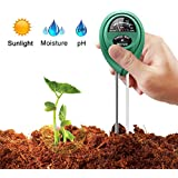 Soil pH Meter,Soil Moisture Meter,3 in 1 Soil Test Kit Gardening Tools for PH, Light & Moisture, Plant Tester for Home, Farm, Lawn, Indoor & Outdoor (No Battery Needed)