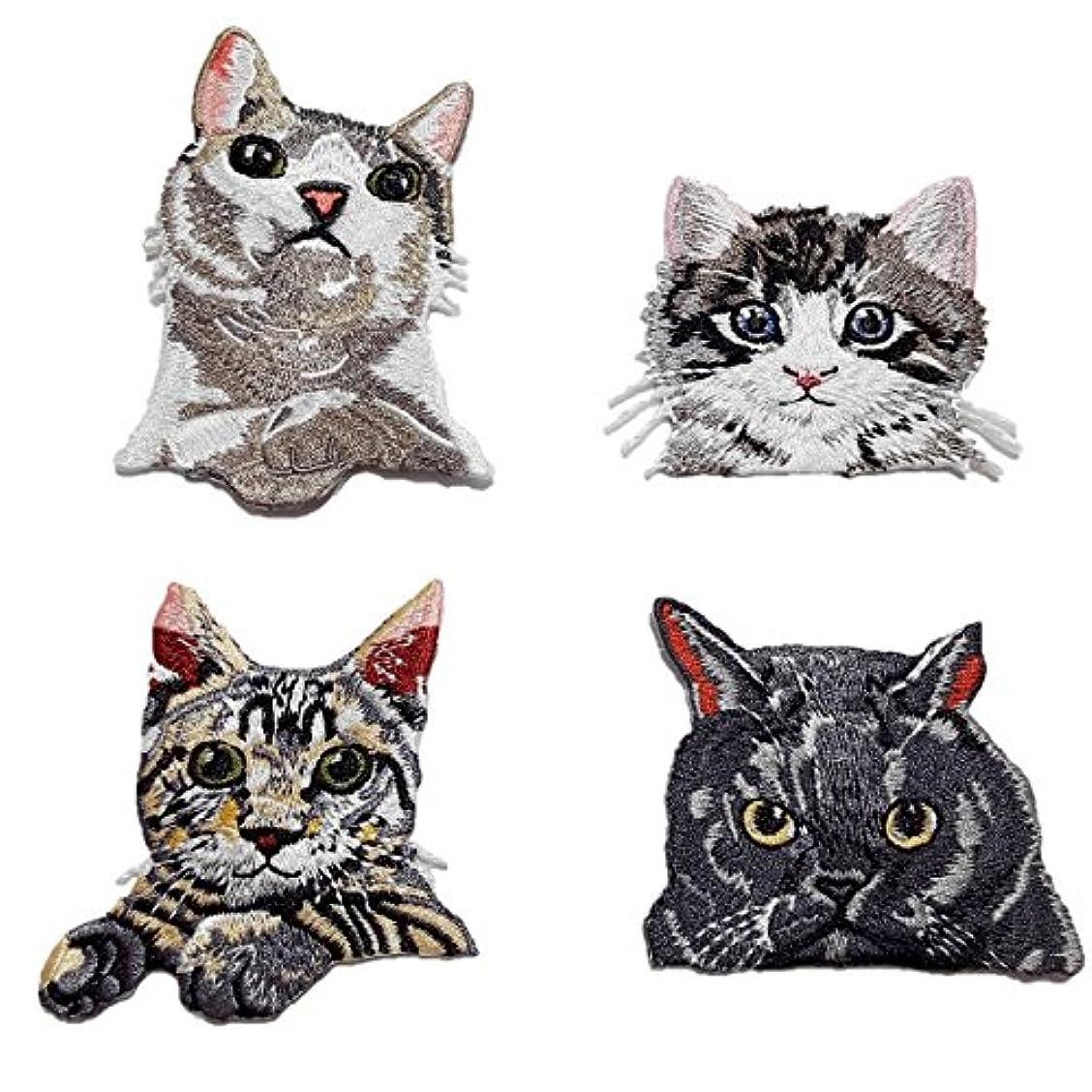 建てるディーラーキウイ動物 刺繍 アイロン ワッペン 猫 4種類セット 大きいサイズ 手芸