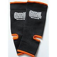 アンクルサポーター 黒(オレンジ) フリーサイズ キックボクシング?空手用 GLOBAL SPORTS グローバルスポーツ
