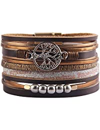 Essential Oil Diffuser Wrap Bracelet - Stainless Steel Magnetic Locket Cuff Bangle Leather Band 8 Colors Pads Gift Set Girls Women