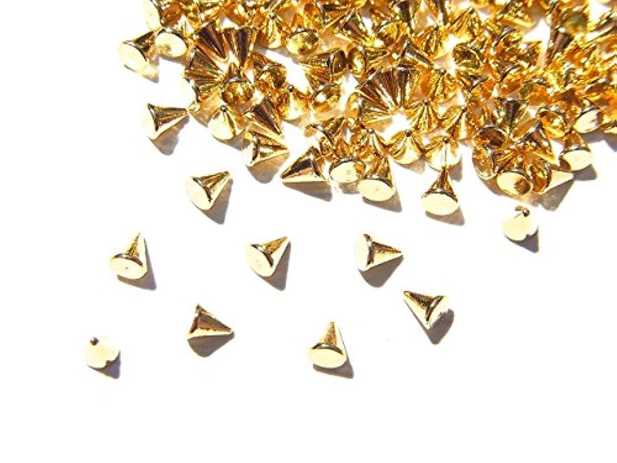 サドル十億麻痺【jewel】ゴールド メタルパーツ リベット (トゲトゲ) Mサイズ 10個入り 2.2mm×1.8mm 手芸 材料 レジン ネイルアート パーツ 素材
