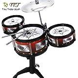 Toy Treade Japan 子供用 ミニ ドラム セット キッズドラム 楽器 玩具 バンドごっこ ドラマー 太鼓 シンバル セット 格好いい おしゃれ デザイン 音程 リズム感 感性 アップ 安心設計 組み立て簡単 (太鼓3個)