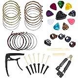 TOOGOO Guitar Accessories Kit 49 Pcs Guitar Tool Including Guitar Picks, Capo, Acoustic Guitar Strings, String Winder, Bridge Pins, Pin Puller, Guitar Bones & Pick Holder, Finger Picks