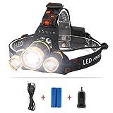 TecBillion 超強力ヘッドライト 3CREE LEDヘルプライト ズーム&フォーカス機能 充電用ケーブル・カーチャージャー・電池付属 キャンプ/サイクリング/ハイキング/夜釣りなどのアウトドア活動に適用