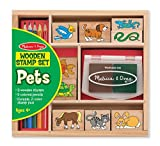 Melissa & Doug Wooden Stamp Set: Pets - 9 Stamps, 5 Colored Pencils, and 2-Color Stamp Pad [並行輸入品]