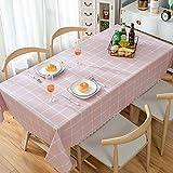 ポリ塩化ビニールのテーブル クロスを印刷,耐水性耐油性鉄防表カバー シミュレートされたコットン リネン長方形サイド テーブル ダイニング テーブル読書テーブル プロテクター-e