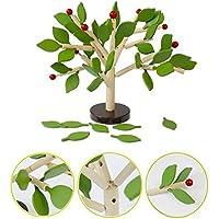 木製おもちゃ バランスゲーム 木の葉を差し込む  知育玩具 積み木 手指 能力 トレーニング グリーン