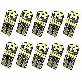 Nakobo 10個 T10 LED ホワイト 爆光 キャンセラー内蔵 車検対応 4014 チップ12V カー バイク ポジション ナンバー灯 ルームランプ (一年保証)