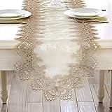 EGROON 上品 豪華 テーブルランナー 優雅 テーブルクロス 食卓カバー テーブルカバー テーブルマット 簡約 ブラウン