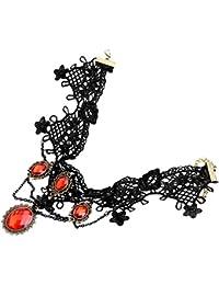 Jovivi Mak ジュエリー ファッションアクセサリー レディース レース 合金 ストーン 欧米レトロ風 レトロ 花 フラワー 赤宝石 宮廷 コスプレ アンティーク コスロリ 貴族 ネックレス チョーカー ペンダント カラー ブラック ギフトバッグを提供