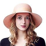 Sedancasesa 小顔効果抜群 つば広帽子 小顔効果 レディース 女性用 折り畳み ハット UVカット 紫外線対策 ちょう結び 麦わら帽子 (ピンク)