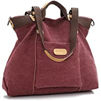 Ecokaki(TM) Casual Canvas Ladies Tote Bag Large Travel Purse Hobo Handbag Shoulder Bag Shopping Bag