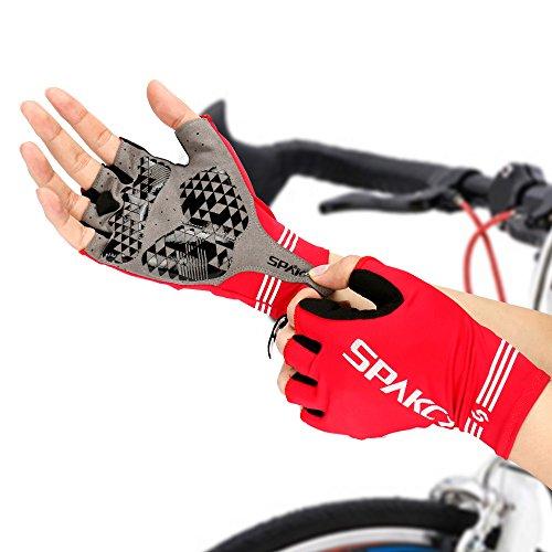 BIGO SPAKCT 自転車グローブ サイクリンググローブ ハーフ 春夏秋用指切り GEL入り 弾力性 滑り止め付き 衝撃吸収パット 耐磨耗性 換気性 トレーニング ドライブ 登山など用 3サイズ 男女兼用 (L)