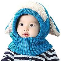 ICASSO赤ちゃん ベビー キッズ 子供用の可愛いウサギちゃん風 ニット帽子 選べる5色 可愛い防寒用のニット帽 (ブルー)