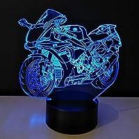 3dオートバイledナイトライト電球ライトおもちゃカラー可変テーブルランプメタクリレートプレート子供の常夜灯