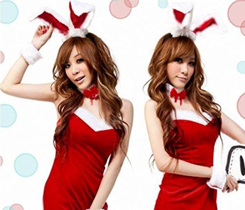 【定番 人気】 コスプレ バニーガール サンタ 服 うさ耳 カチューシャ 付き (レッド/赤)  完全5点SET