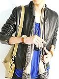 (モノマート) MONO-MART 本革 ライダース ジャケット シングル レザージャケット 革ジャン スプリング カラー メンズ Mサイズ