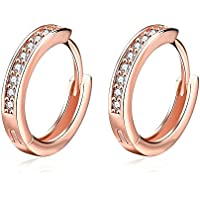 Hoop Earrings, 14MM Rose Gold Palted Gold Palted Silver Stainless Steel Cubic Zirconia Rhinestone Earrings for Women Girls