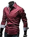 【 Smaids×Smile 】 ボタン スリム メンズ 長袖 チェック フィット ワイシャツ カジュアル ドレス ( レッド , M )