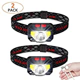 2-Pack LED Rechargeable Headlamp Flashlight, USB Head Torch 1000 Lumens Motion Sensor Head Lamp, USB Charge, IPX45 Waterproof, COB Headlight, Perfect for Running, Camping, Outdoor,etc