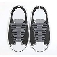 ポータブルで実用的 大人のシリコーン靴ひものための16個のクリエイティブ弾性靴ひもロックバンドDIYアクセサリー(グレー)