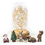 LEDイルミネーションランプ スターライトドーム 森のどうぶつ達&サンタクロースとクリスマスツリー人形オブジェ同梱 USB電源 明るさ調節調光機能付 クリスマスプレゼントや誕生日・記念日の贈り物に LEDの形を自分で自由にデザインできます ガラス製ドーム&木製台&LEDワイヤーコード テーブルランプ LEDライト ベッドサイドランプ 室内照明インテリア