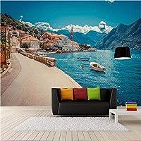 Ljjlm ヨーロッパイタリアシーサイドタウンポート漁船壁紙壁画3Dプリント写真壁紙用リビングルーム壁の装飾風景-280X200CM