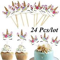 24ピース/セットユニコーン漫画カップケーキトッパーケーキ飾る挿入カードピック結婚式の子供誕生日パーティーの装飾用品 - カラフル
