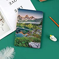 新しい ipad pro 11 2018 ケース スリムフィット シンプル 高級品質 手帳型 柔らかな内側 スタンド機能 保護ケース オートスリープ 傷つけWanderlust湖の風景とオーストリアのアルプスの山脈の霧夏の朝