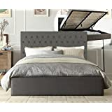 Istyle Norman King Gas Lift Ottoman Storage Bed Frame Fabric Grey