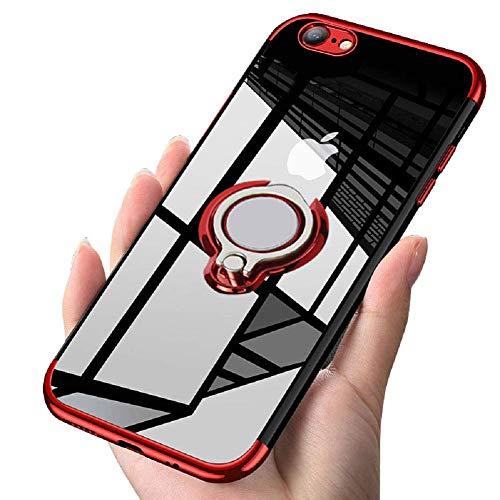 iPhone6S ケース/ iPhone6 ケースリング 透明 耐衝撃 全面保護 磁気カーマウントホルダー スタンド 柔らかい殻 ケース 車載ホルダー対応 薄型 軽量 充電対応 TPU 滑り防止 黄変防止 簡潔なファッション 高級なカーボン風