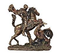 美しい聖ジョージの像 コールドキャストブロンズにドラゴンを敷き詰め、軽く手描きした11.5インチ
