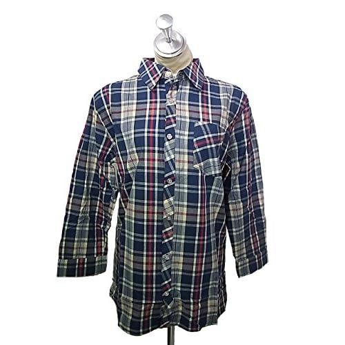 grn(ジーアールエヌ)7分袖 タータンチェック ロールアップシャツ 紺ネイビー×赤レッド×白ホワイト
