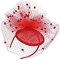 Perfk ふわふわのボール トップハット ヘンパーティー カクテルパーティー ダービーレース レディース ファッション ドレス 全8色 - レッド
